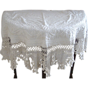 18th or Early 19th Century Trapunto Demi-lune Table Cover