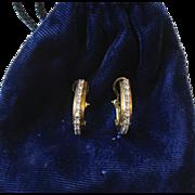 Beautiful Pair of 14 Kt Gold Diamond Hoop Earrings