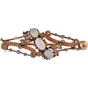 Mid 19th Century 14 kt Bar Pin w/ Opals and Diamonds