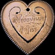 "Sterling Silver Heart Bookmark ""Woodville Miss"""