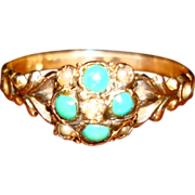 Antique Victorian 15K  Turquoise and Pearl  Ring