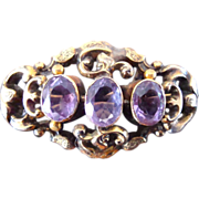 SALE Antique Georgian Pin with Amethyst Stones