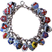 Vintage Silver Charm Bracelet with Enamel Charms
