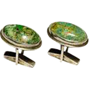 Classic Pair  of Sterling and  Green Agate Cufflinks