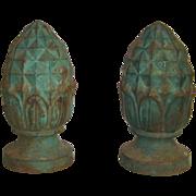 Pair of Antique Cast Iron Pineapple Finials  c. 1880