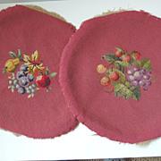2 Fruit Motif Needlepoint Covers
