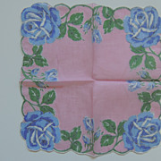 Vintage Hankie With Roses