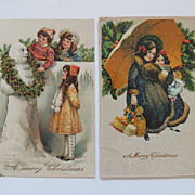 2 Germany Christmas Greetings Postcards