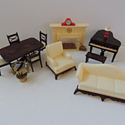 SOLD Renwal Doll House Furniture and Marx Fireplace