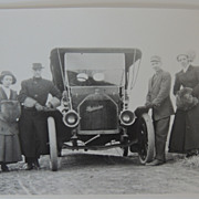 2 Photographs Of Vintage Automobile Car With Passengers