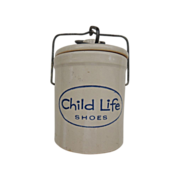 Advertising Stoneware Crock Child Life Shoes