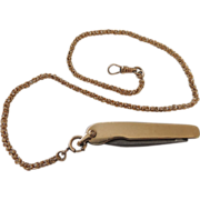14 K Gold Plated Fob Pocket Knife and Bigney Watch Chain