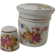 SOLD Vintage Bone China Thimble and Case