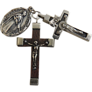 2 Crucifix with Catholic Medal