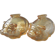 2 Marigold Glass Piggy Banks