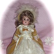 "c1909 Antique 10"" Recknagel Cabinet Doll in Satin'n Lace - Velvet Costume"