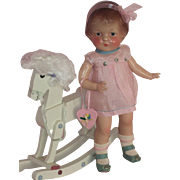 "SOLD Darling 1930's 15"" Composition Doll with Rocking Horse"