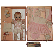 """10"""" All Bisque Tiny Tears Doll w/layette and Carrying Case"""