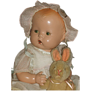 """1920's 13"""" All Composition Baby Doll w/Bent Knees & Vintage Outfit"""