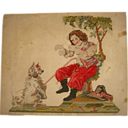 Early pierced paper needlepoint of man and dog