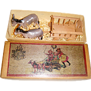 Miniature German cart with donkeys for small dolls