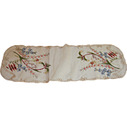 Beautiful hand painted organdie runner with wild flowers