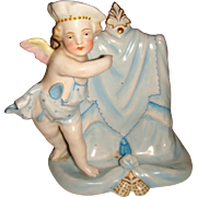 Charming French cherub china menu holder