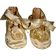 Beautiful silk baby shoes with pompoms for large doll