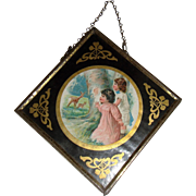 Delightful miniature picture with eglomise frame