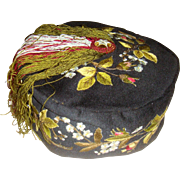 Superb embroidered Victorian smoking hat