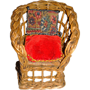Small wicker chair with cushions for small doll