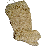 Pair of very finely knitted old doll socks