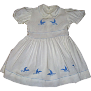 Delightful embroidered vintage toddler dress with blue birds