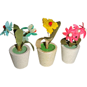Set of flowers in pots for dolls house