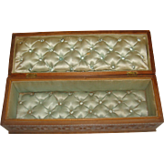 Silk padded and lined carved wooden box 1891