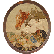 SOLD Fine small needlepoint of horses and bird