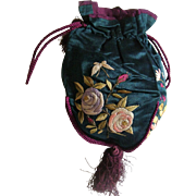 Antique silk embroidered bag