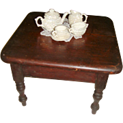 Antique miniature pine table for doll set for tea
