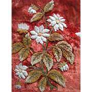 Rare Georgian fish scale on velvet embroidered banner with flowers