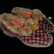 Regency fur trimmed childs shoes?slippers