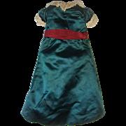 Hand made green silk dress for wax  doll