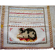 Sampler from convent 1863 by Catty stokes with stump work cat