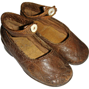 Brown leather ankle strap child's shoes large doll