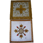 Pair religious silk covered pockets