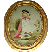 Early silk embroidered and felt picture