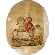 Early needle point man on horse back