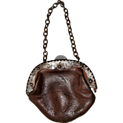Super early leather bag for doll