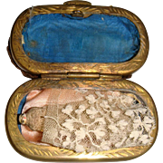 Tiny Grodnertal wooden doll in a box