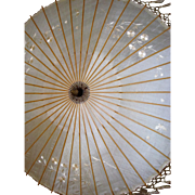 Beautiful old silk and bamboo embroidered parasol