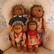 Complete family of Steiff Mecki Hedgehogs